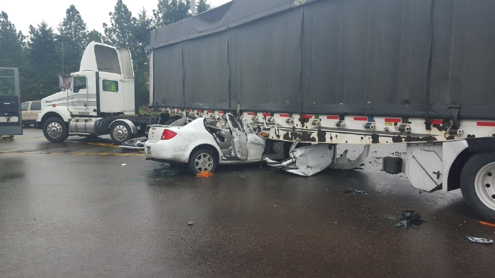 Driver seriously injured when car hits semi trailer | KLEW