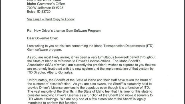 NPC Sheriff Says He'll Withhold Tax Dollars for ITD Services
