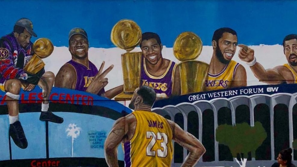 915f4071 New mural features LeBron looking up at LA Lakers greats | KLEW